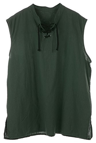 Men Renaissance Medieval Linen T Shirt V Neck Hippie Pirate Cosplay Vest -