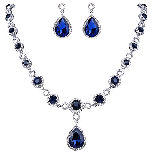 BriLove Women's Fashion Y-Necklace Dangle Earrings Set Wedding Bride Crystal Infinity Figure 8 Teardrop Set Navy Blue Sapphire Color Silver-Tone September Birthstone (Sapphire Costume Jewelry)