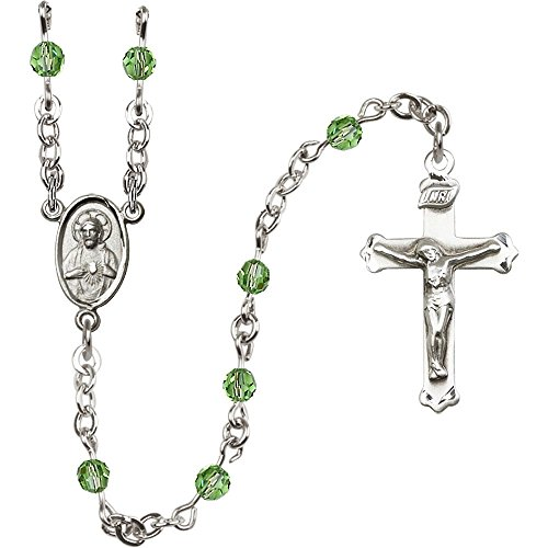 Sterling Silver Rosary 4mm August Green Swarovski beads Crucifix sz 1 1/8 x 5/8. Scapular medal charm by Unknown