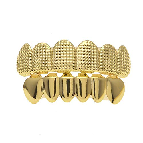 Gold-Plated Hip Hop Grills Iced Out Micro Pave Full Teeth Bottom Charm Jewelry Gold Grillz (Gold)