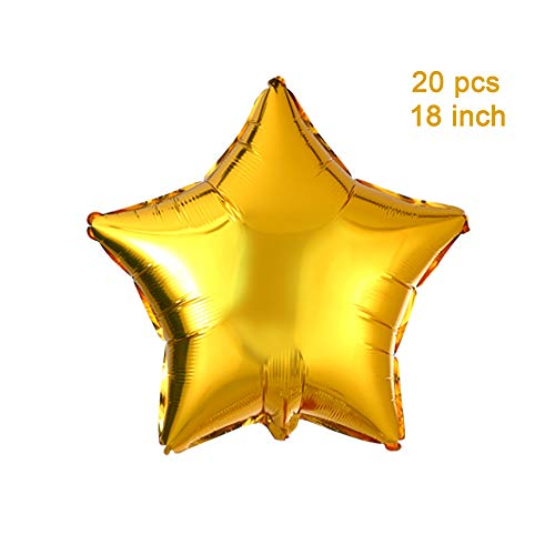 "18"" Gold Star Shaped Foil Balloons Mylar Helium Balloons for Birthday Party Wedding Baby Shower Decorations, Pack of 20"