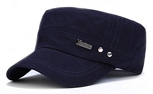 ChezAbbey Men's Solid Brim Flat Top Cap Army Cadet Style Military Hat Peaked Cap Blue