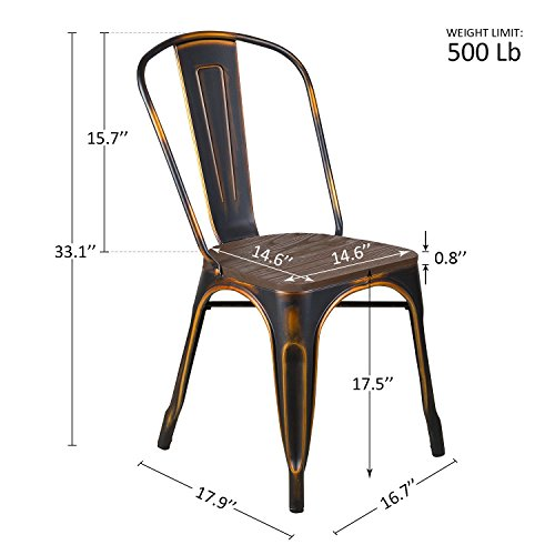 LCH Industrial Metal Wood Top Stackable Dining Chairs, Set of 4 Vintage Indoor/Outdoor Stackable Bistro Cafe Chairs with Back, 500LB Limit, Antique Bronze by LCH (Image #1)
