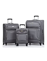VIA Rail Canada James Bay 2.0, 3 Piece Luggage Set, Grey, Checked-Large