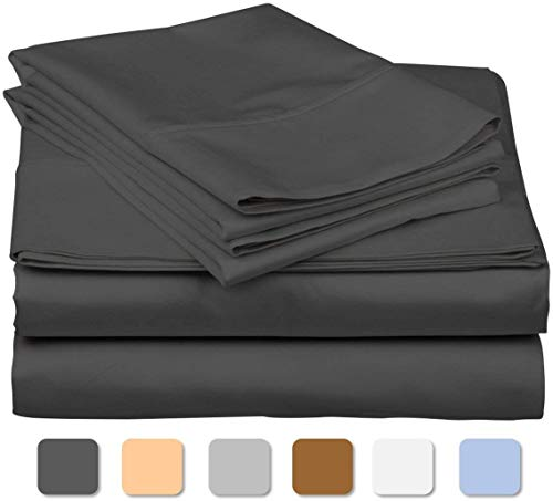 800 Thread Count 100% Long Staple Soft Egyptian Cotton SheetSet, 4 Piece Set, TWIN SHEETS,upto 17″ Deep Pocket, Smooth & Soft Sateen Weave, Deep Pocket, Luxury Hotel Collection Bedding, DARK GREY