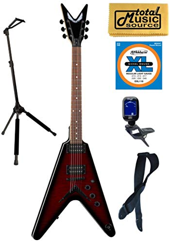 Dean VX FM TRD Flame Top Solid-Body Electric Guitar, Trans Red, Stand Bundle