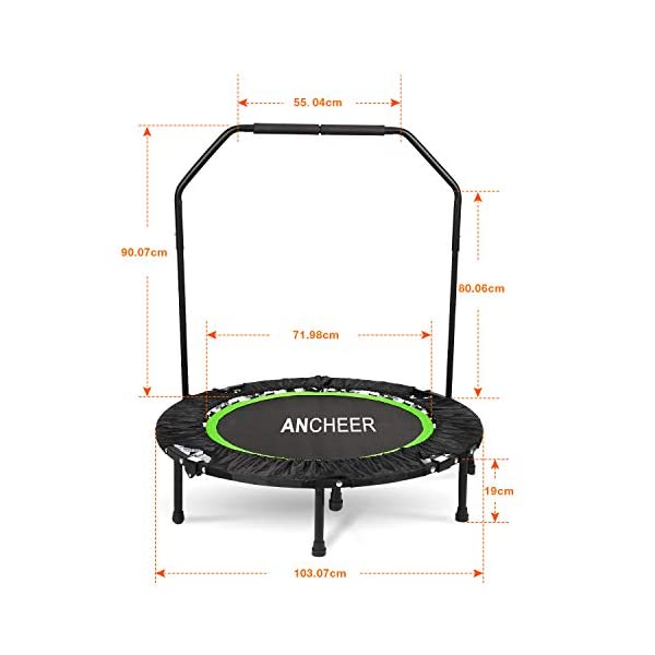 ANCHEER 40″ Mini Trampoline de Fitness Pliable avec Poignée, d'Entraînement Cardio pour Adultes ou Enfants (Charge Maximale: 135KG, Tapis de Saut Extensible) accessoires de fitness [tag]