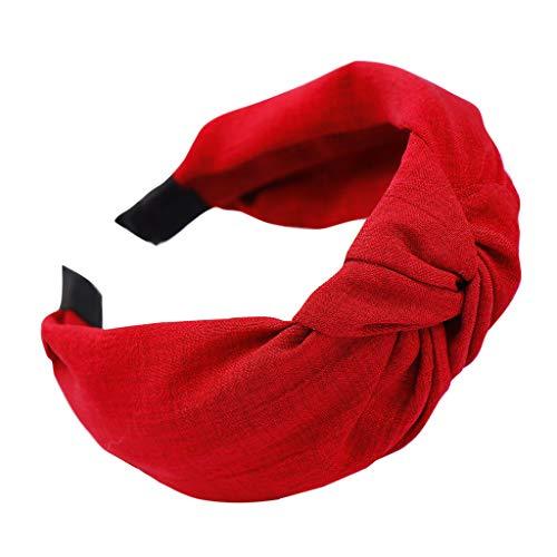 unionm Elastic Plain Fashion Hair Accessories for Women Ladies Headbands for Women Non Slip Washing face (Red) ()