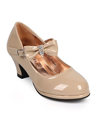 Patent Rhinestone Bow Mary Jane Kitten Heel Pump (Toddler/Little Girl/Big Girl) DC27 - Beige (Size: Little Kid 12)