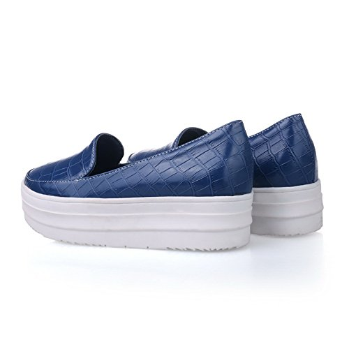 Toe Oxfords Round Platform Shoes BalaMasa Blue Pull Urethane Womens On AOp4S