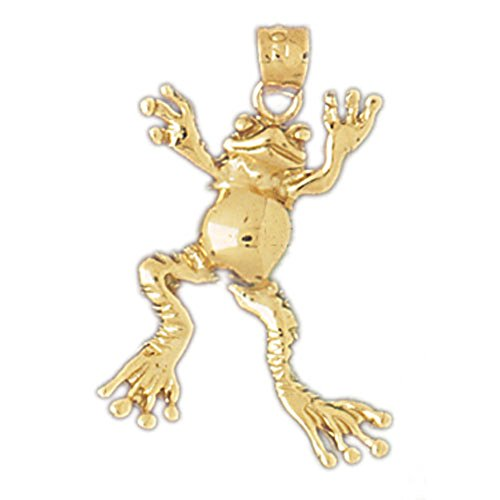 (14K Yellow Gold Frog Necklace - 28 mm)