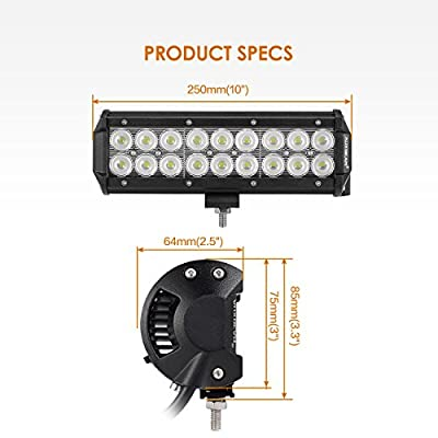 "Auxbeam™ 1P 7"" 36W Led light bar 2520lm flood 3w Cree chips for Jeep Off road offroad Suv 4x4 4WD Boat work light"