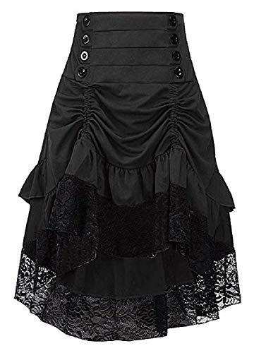 Sorrica Women's Steampunk Retro Gothic Vintage Ruffle High Low Gypsy Hippie Lace Party Skirt (S, ()