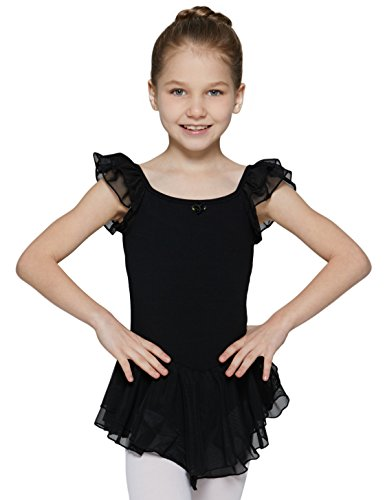 MdnMd Girls' Flutter Sleeve Leotard with Sweet Keyhole (Tag110 (Age 2-4 Height 39-44