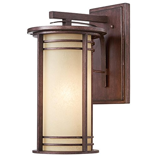 Home Decorators Collection 17.5 in. 1-Light Bronze Outdoor Wall Lantern with Amber Glass