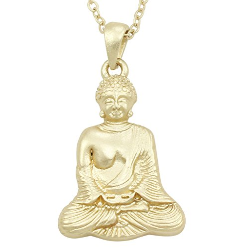 Heirloom Finds Matte Gold Tone Iconic Religious Sitting Buddha Buddhism Pendant Necklace