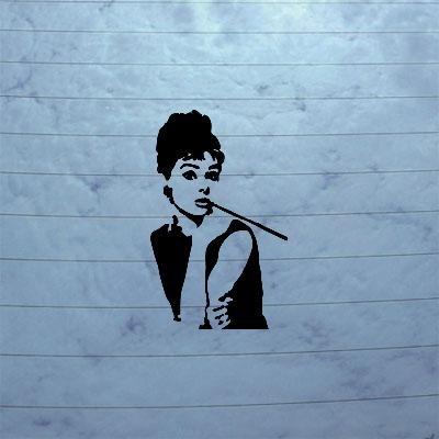 cybersavs Helmet AUTO Adhesive Vinyl Wall Art Decoration Black CAR Laptop Decal Sticker Notebook Bike Breakfast at Tiffanys Audrey Hepburn Art Decor Home Decor Vinyl (Best Breakfast At Home)