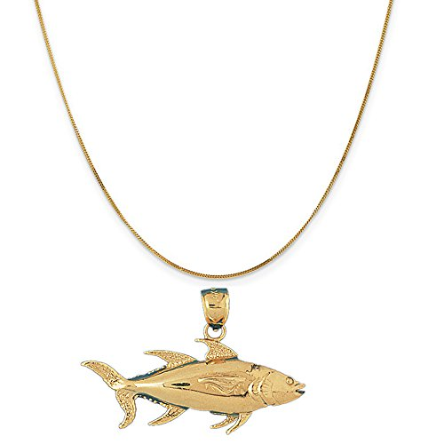 14k Yellow Gold Tuna Pendant on a 14K Yellow Gold Curb Chain Necklace, 16'' by Eaton Creek Collection