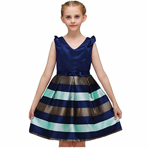 Gowns Prom Princess Style (Tsyllyp Kids Girl Dress Ruffles Striped Party Dresses Princess)