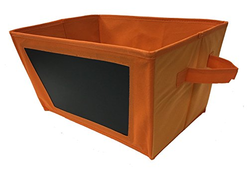 Chalkboard Storage Bin - Foldable Fabric Tote - Orange - Closet Organizer, Toy Storage, Gift Basket, Baby's Room Storage
