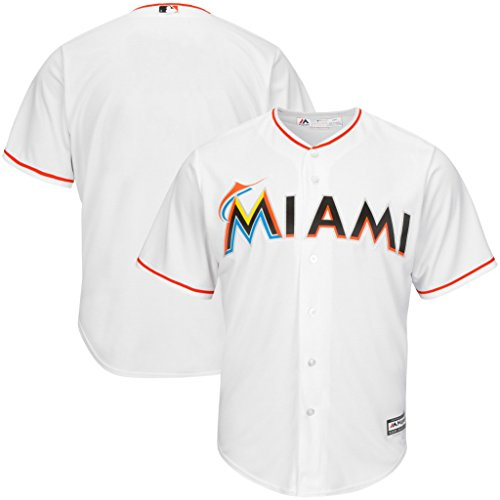 VF Miami Marlins MLB Mens Majestic Cool Base Replica Jersey White Big & Tall Sizes (2XT)