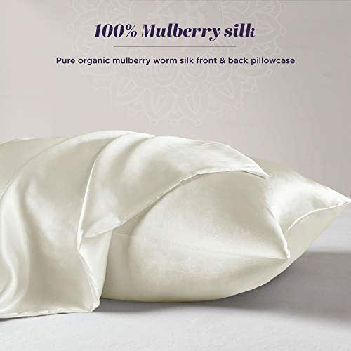 100% Organic Mulberry Silk Pillowcase for Hair and Skin – Satin Silk Pillow Cases with Hidden Zipper – Antibacterial for Hair, Anti-Acne & Hypoallergenic for Skin - 1 Pack (Queen 20x30 Pearl White)