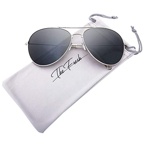 The Fresh Classic Aviator Frame Light Color Lens XL Oversized Sunglasses Gift Box (21-Silver, Dark Grey)
