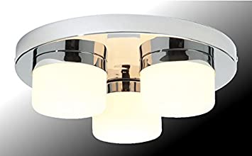 Marco Tielle 3 Light Bathroom Ceiling Light In Chrome Finish With White  Frosted Glass Shades IP44