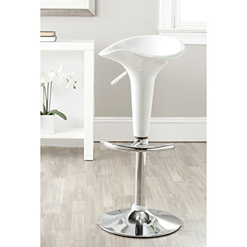 Safavieh Home Collection Jataya White Adjustable Swivel Gas Lift 24-32.5-inch Bar Stool