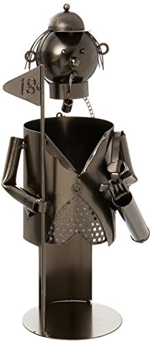 WINE BODIES ZB640 Player with Golf Club Metal Wine Bottle Holder, Charcoal (Metal Holders Bottle Wine)