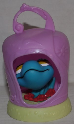Frog #057 (Green, Yellow Eyes, McDonalds) - Littlest Pet Shop (Retired) Collector Toy - LPS Collectible Replacement Figure - Loose (OOP Out of Package & Print)
