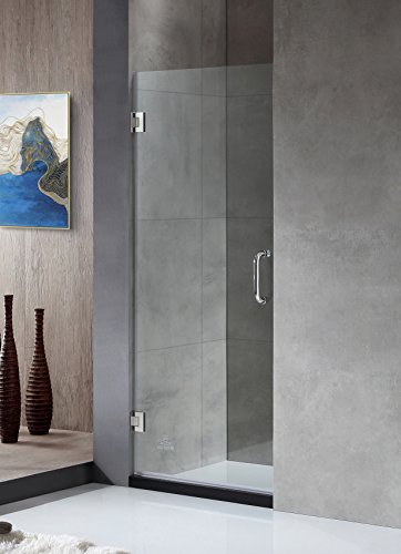ANZZI Fellow 72 x 30 inch Frameless Hinged Shower Door in Polished Chrome with Handle | Clear Tempered Deco Glass Shower Doors with Symmetrical Design for Reversible Installation | SD-AZ09-02CH