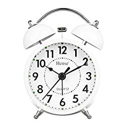 HENSE Classical Retro Twin Bell Mute Silent Quartz Movement Non Ticking Sweep Second Hand Bedside Desk Analog Alarm Clock with Nightlight and Loud Alarm HA01 (White)