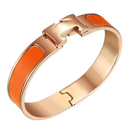 Titanium Womens Bracelets - NIMUVIS Womens Fashion Titanium Steel Bracelets Buckle Bangle Love Bracelet Enamel Bracelet Jewelry for Women (Orange-Rose Gold)