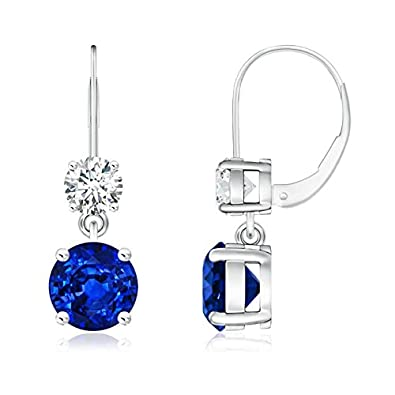 Angara Dangling Princess Cut Blue Diamond Leverback Earrings ZN3zb
