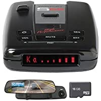 Escort Passport S55 High Performance Radar and Laser Detector Includes Bonus ArmorAll 2.4 inch LCD Dash Cam with Built-in 720p Video/Audio Recorder and 16GB Micro SD Memory Card