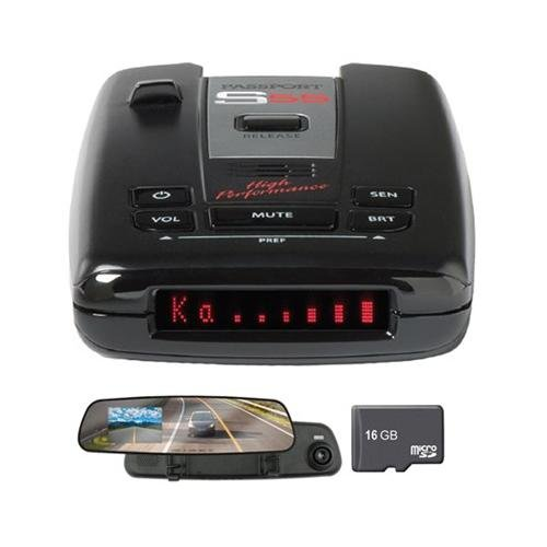 Escort Passport S55 High Performance Radar and Laser Detector Includes Bonus ArmorAll 2.4 inch LCD Dash Cam with Built-in 720p Video/Audio Recorder and 16GB Micro SD Memory Card by Beach Camera