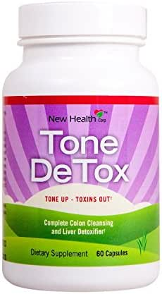 New Health Tone Detox Metabolism Booster and Colon Cleanse - Liver Toxin Remover - 60 Capsules