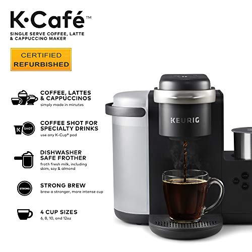 Keurig K-Café Coffee Maker, Single Serve K-Cup Pod Coffee, Latte and Cappuccino Maker, With Dishwasher Safe Milk Frother, Coffee Shot Capability, Compatible With all K-Cup Pods, Charcoal (Renewed)