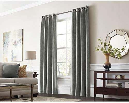 Allen and Roth X72613084ZBG Winbourne 84-in Gray Polyester Grommet Room Darkening Thermal Lined Single Curtain Panel