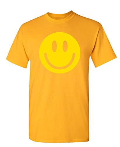 Smile Face Emoticons Novelty Graphic Sarcastic Happy Face Humor Funny T Shirt S Gold