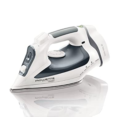 Rowenta DW2090 Effective Comfort 1500-Watt Cord Reel Steam Iron Stainless Steel Soleplate with Auto-Off, 300-Hole, Gray