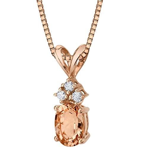 14 Karat Rose Gold Oval Shape 0.75 Carats Morganite Diamond Pendant