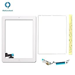 FixCracked® Screen replacement for iPad 2, Front Touch Digitizer Assembly Replacement include Home Button +Camera Holder + Adhesive pre-installed+Middle Frame Bezel+WIFI Antenna Cable (White)