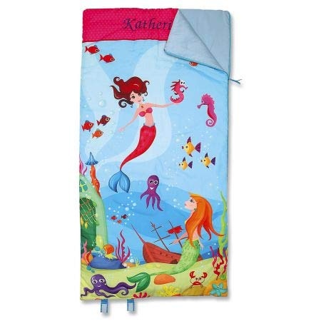 Mermaid Sleeping Bag - 32'' x 60'' Child-size, Indoor, Lightweight, Custom-embroidered Name, Girl's Sleeping Bag