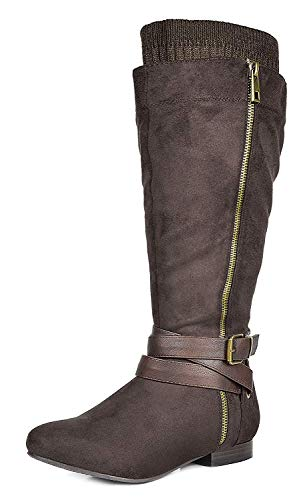 DREAM PAIRS Women's Beltran Brown Faux Suede Knee High Riding Boots Wide Calf Size 7 M - Knee Suede High Ladies Women