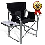 Light Weight Oversized Portable Chair with Mesh Back Storage Pouch and Folding Side Table for Camping Outdoor Fishing 300 lbs High Capacity