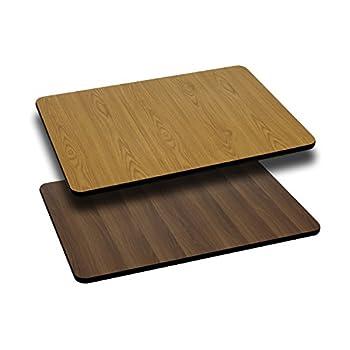 Flash Furniture 30'' x 48'' Rectangular Table Top with Natural or Walnut Reversible Laminate Top