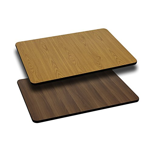 Flash Furniture 30'' x 42'' Rectangular Table Top with Natural or Walnut Reversible Laminate Top (High Walnut Laminate Top)