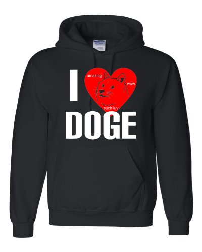 Large Black Adult I Love Doge I Heart - Doge Sweatshirt
